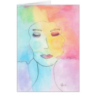 """Arte del retrato de la acuarela de la """"confianza"""" tarjeta de felicitación"""