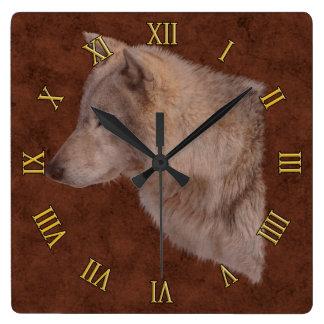 Arte del retrato de la fauna de White Wolf Reloj Cuadrado