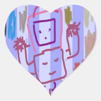 ARTE del ROBOT de los NIÑOS Pegatina En Forma De Corazón