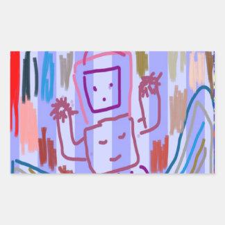ARTE del ROBOT de los NIÑOS Pegatina Rectangular
