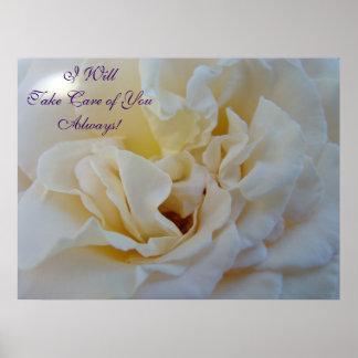 Arte del rosa blanco tomaré el cuidado de usted si impresiones