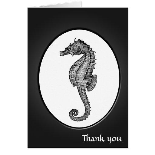 Arte del Seahorse del vintage Tarjeta De Felicitación