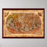 Arte del siglo XV del mapa de Viejo Mundo Poster