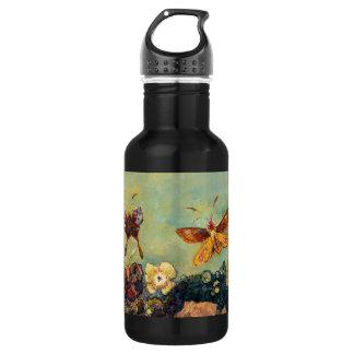 Arte del simbolismo del vintage de las mariposas botella de agua de acero inoxidable