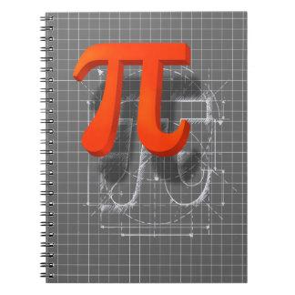 Arte del símbolo del pi libro de apuntes con espiral