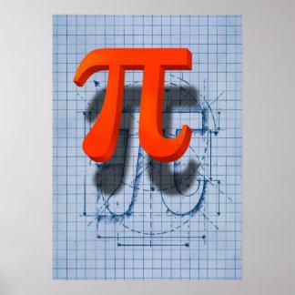 Arte del símbolo del pi póster