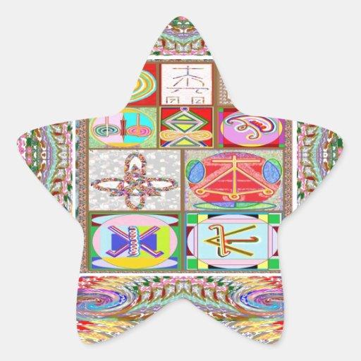 Arte del SÍMBOLO: La compasión n que cura va junta Pegatina En Forma De Estrella