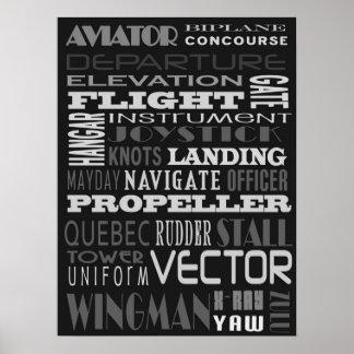 Arte del subterráneo del alfabeto del aviador póster