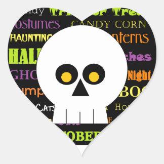 Arte del subterráneo del cráneo de Halloween Pegatina En Forma De Corazón