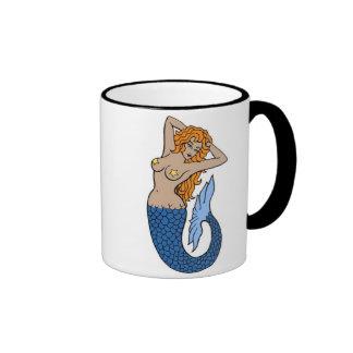 Arte del tatuaje de la sirena del vintage tazas de café