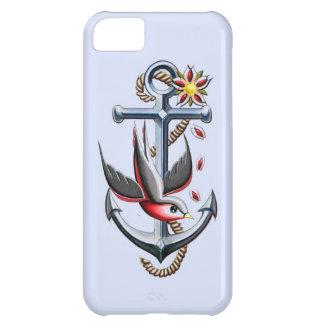 Arte del tatuaje del pájaro y del ancla funda para iPhone 5C
