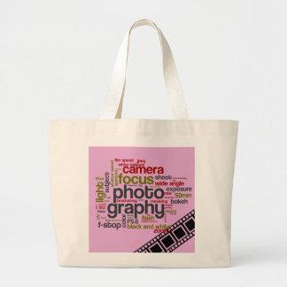 Arte del texto de la fotografía - rosa bolsas de mano