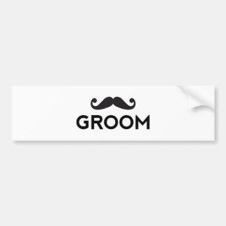 Arte del texto del novio con el bigote pegatina para coche