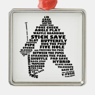 Arte del texto del portero del hockey adorno navideño cuadrado de metal