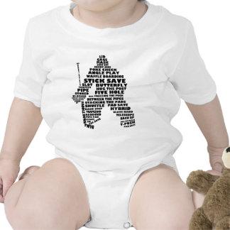 Arte del texto del portero del hockey traje de bebé