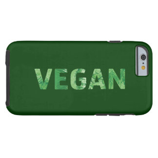 Arte del texto del vegano - cita feliz funda resistente iPhone 6