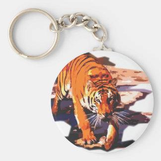 Arte del tigre - gatos salvajes llavero redondo tipo pin