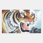 Arte del tigre pegatina rectangular