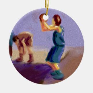Arte del tiro libre del baloncesto adorno navideño redondo de cerámica