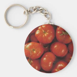 Arte del tomate llavero redondo tipo pin