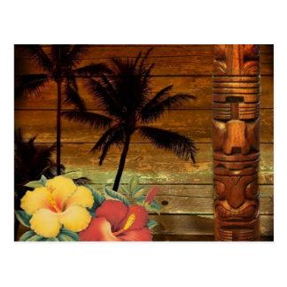 Arte del tótem de la flor de la pasión de Hawaii Tarjetas Postales