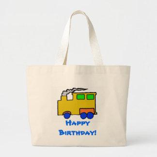 Arte del tren del muchacho del cumpleaños bolsa de tela grande