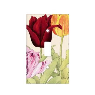 Arte del tulipán del vintage, botánico floral placa para interruptor