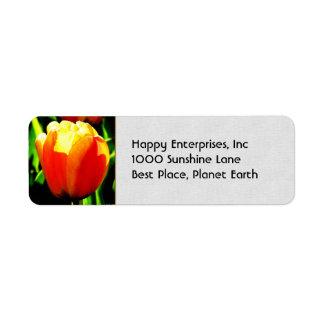 Arte del tulipán etiqueta de remite