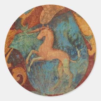 Arte del unicornio del renacimiento pegatina redonda