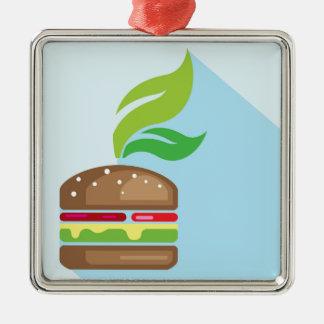 Arte del vector de la hamburguesa del Veggie Adorno Navideño Cuadrado De Metal