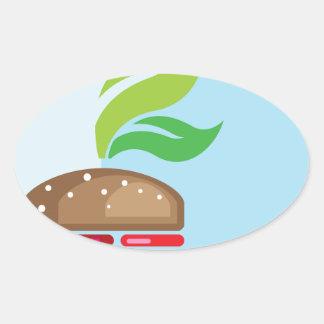 Arte del vector de la hamburguesa del Veggie Pegatina Ovalada