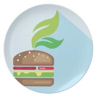 Arte del vector de la hamburguesa del Veggie Plato De Cena