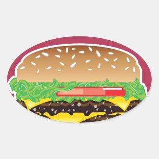 Arte del vector de la hamburguesa pegatina ovalada