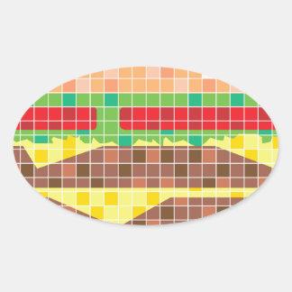 Arte del vector de los pixeles de la hamburguesa pegatina ovalada