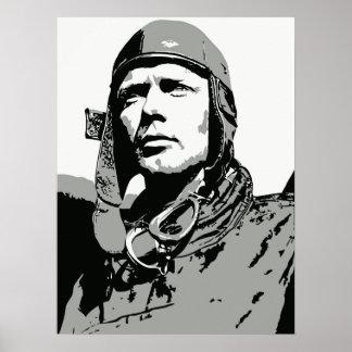 Arte del vector del Grayscale Charles Lindbergh Impresiones