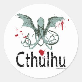Arte del vector del horror de Cthulhu Etiqueta Redonda
