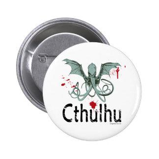 Arte del vector del horror de Cthulhu Pin Redondo De 2 Pulgadas