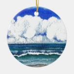 Arte del verano de la playa del mar de la sonata adorno navideño redondo de cerámica