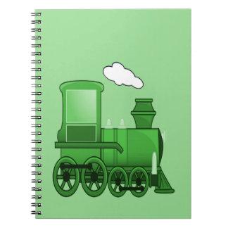 Arte del verde del loco del tren del vapor libro de apuntes