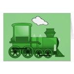 Arte del verde del loco del tren del vapor tarjeta de felicitación