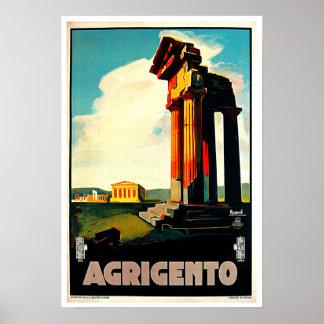 Arte del viaje de Agrigento Sicilia Italia Póster