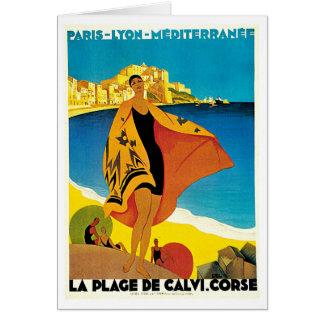 Arte del viaje de Francia del vintage del de Calvi Tarjeta Pequeña