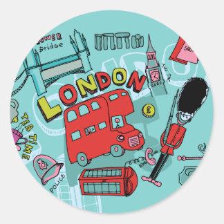 Arte del viaje de Inglaterra Reino Unido del ~ de Pegatina Redonda