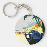 Arte del viaje de la carrera de coches de Mónaco G Llavero Redondo Tipo Pin