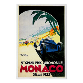 Arte del viaje de la carrera de coches de Mónaco G Poster