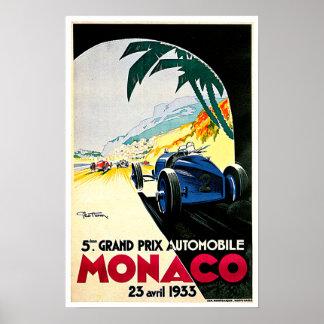 Arte del viaje de la carrera de coches de Mónaco G Póster