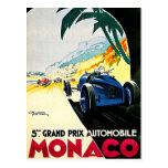 Arte del viaje de la carrera de coches de Mónaco G Postal
