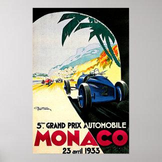Arte del viaje de la carrera de coches de Mónaco Posters