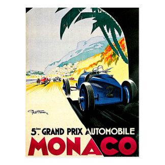 Arte del viaje de la carrera de coches de Mónaco Postal