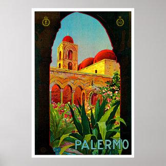 Arte del viaje de Palermo Sicilia Italia Póster